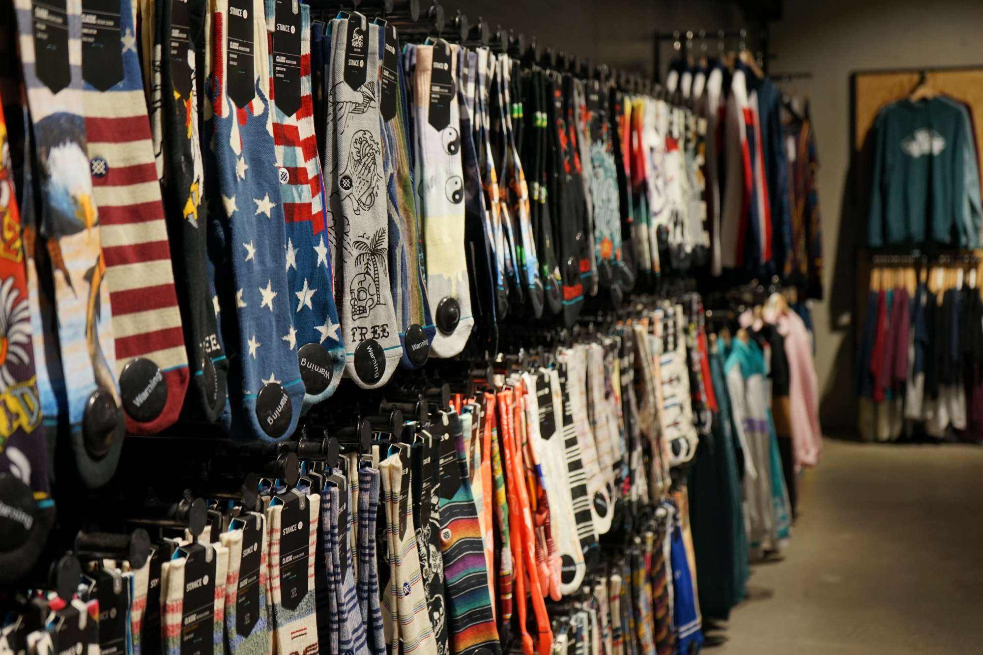 A wall of socks