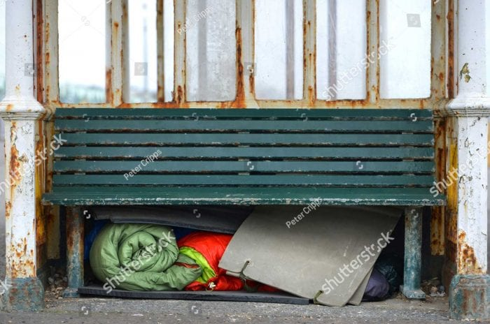 Bench with homeless supplies