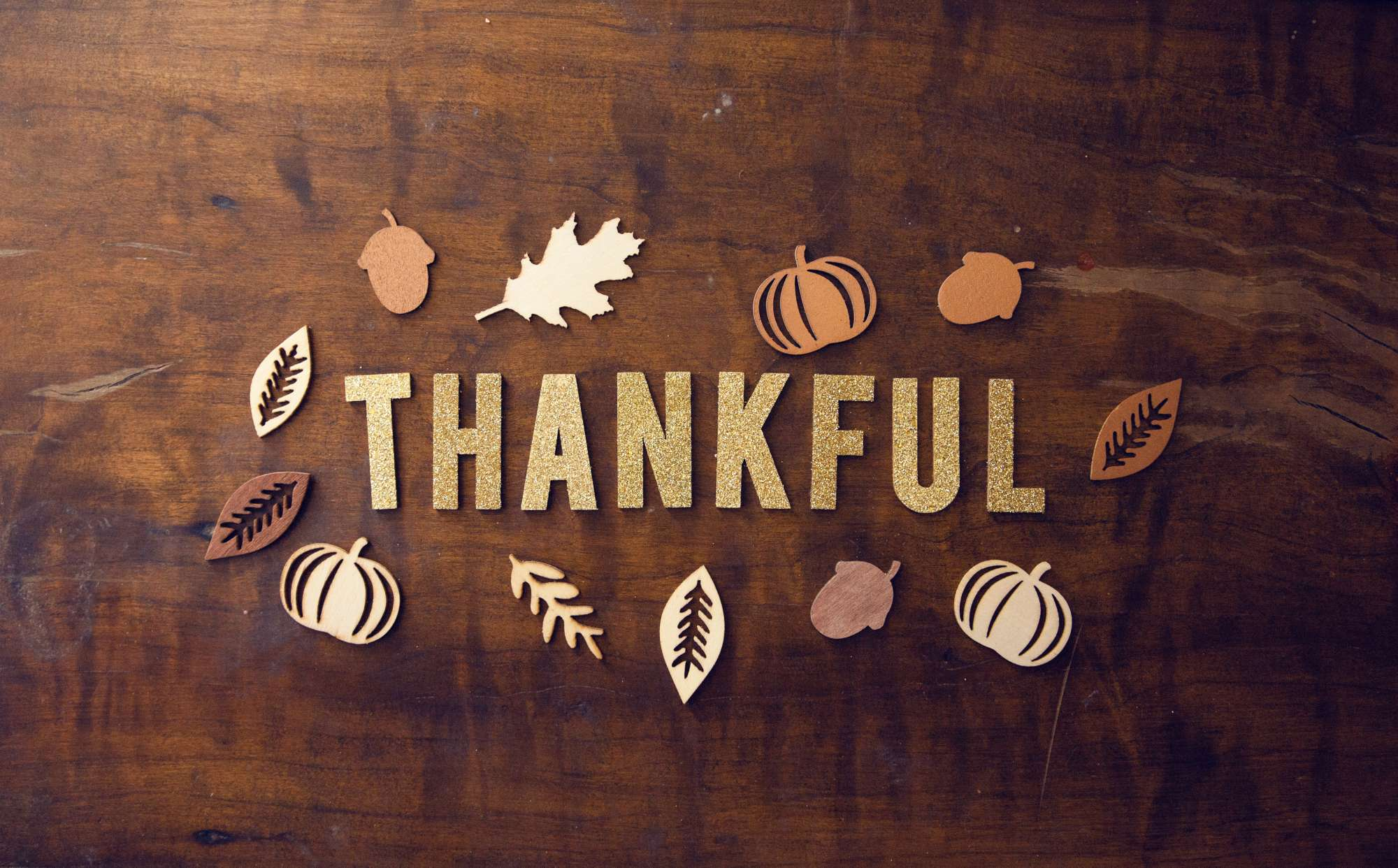 The Word Thankful Written with Thanksgiving Theme