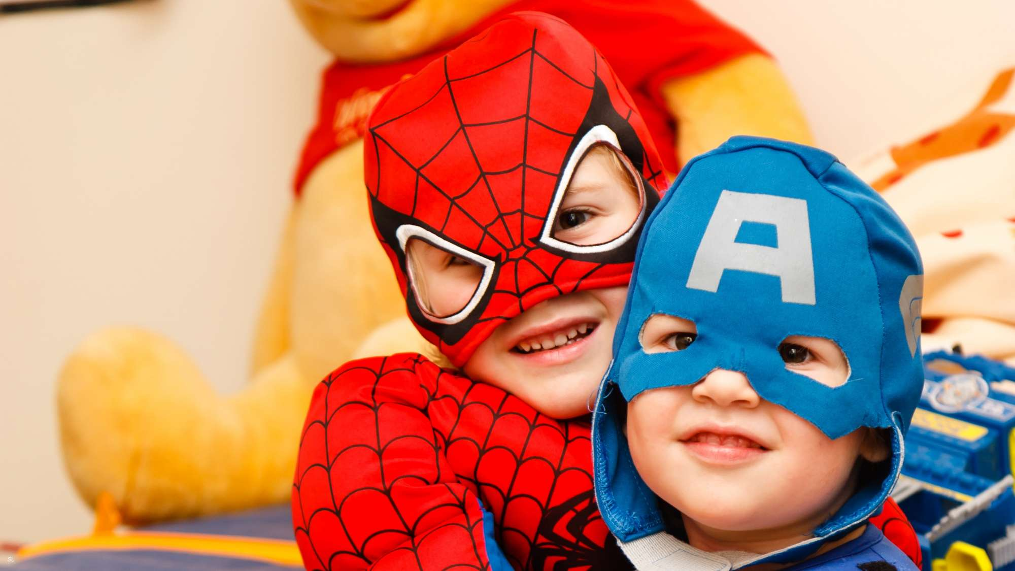 Two Children Dressed in superhero costume